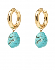 Gold Huggie Hoop and Turquoise Stone Earrings