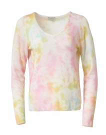 Multicolored Tie Dye Print Cashmere Sweater