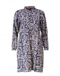 Renu Blue Suzani Damask Print Cotton Coat