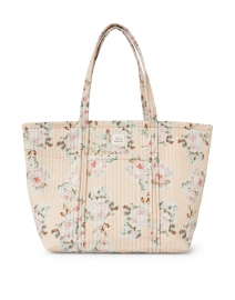 Avery Tan Floral Printed Quilted Nylon Tote Bag