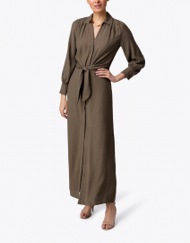 Madsen Olive Green Crinkle Crepe Maxi Shirt Dress
