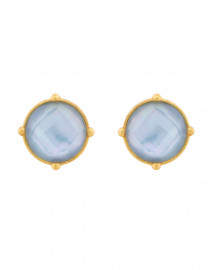 Honey Iridescent Chalcedony Blue Clip On Earrings