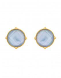 Honey Iridescent Chalcedony Blue Clip On Earrings