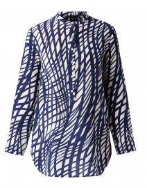 Navy and White Geometric Print Silk Shirt