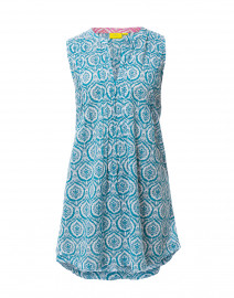 Ofelia Teal Medallion Printed Cotton Dress