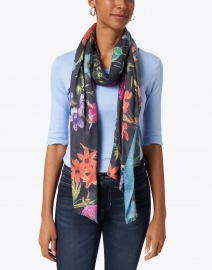 Bindya - Blue Fall Floral Cashmere and Silk Scarf