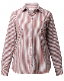 Arpa White and Brown Bronze Striped Cotton Shirt
