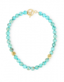 Deborah Grivas - Turquoise and Gold Nugget Beaded Necklace