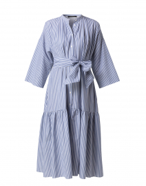 Nerina Light Blue and White Striped Cotton Shirt Dress