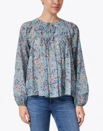 Warm - Flip Flop Blue Floral Print Cotton Voile Top