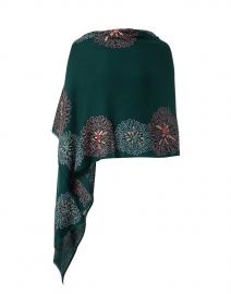 Emerald Green Floral Embroidered Merino Wool Scarf