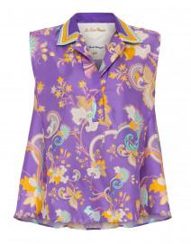 Purple Paisley Floral Printed Silk Henley Top