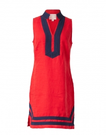 Red Stretch Linen Classic Tunic Dress