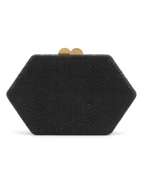 Arianne Black Geometric Straw Clutch