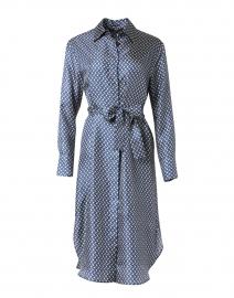 Navy and Ivory Print Silk Dress