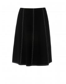Black Knit Skirt with White Stitching