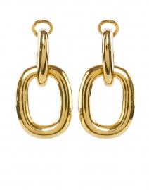 Gold Rectangle Link Doorknocker Earring