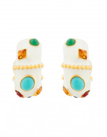 White Enamel Multicolored Hoop Clip Earrings