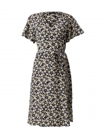 Navy and White Floral Printed Silk Dress