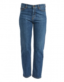 Ecru Blue Stretch Cotton Straight Leg Jean