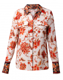 Alisa White and Red Floral Silk Shirt