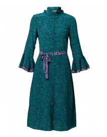 Maia Emerald Green Floral Silk Shirt Dress