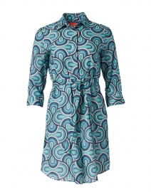 Adriana Blue Lurex Geo Print Cotton Shirt Dress