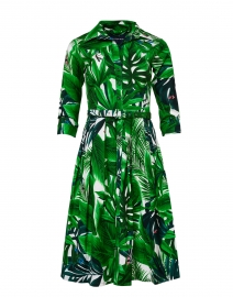 Audrey Green and White Palm Printed Stretch Cotton Dress