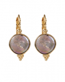 Grey Mother of Pearl Gold Drop Earring
