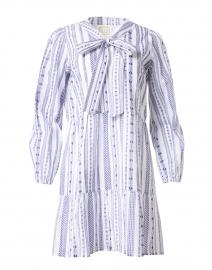 White and Navy Jacquard Stripe Cotton Dress