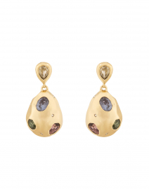 Gold Stone Studded Crumpled Drop Earrings