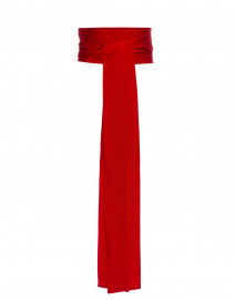 Poppy Red Wide Satin Ribbed Belt