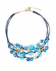 Blue Agate and Gold Beaded Necklace
