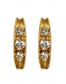 Gold Crystal Encrusted Small Hoop Earrings