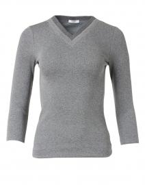 Grey Melange Stretch Cotton Top