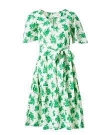 Sandra White and Green Floral Cotton Dress