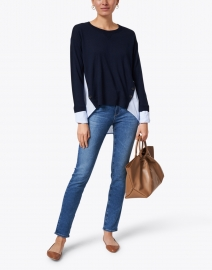 Veronica Beard - Sionne Navy Striped Merino and Cotton Top