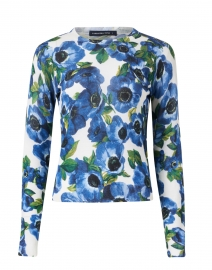 Charlotte Blue Annemonie Floral Silk and Cashmere Sweater