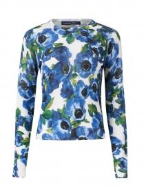 Charlotte Blue Annemonie Floral Silk and Cashmere Sweater