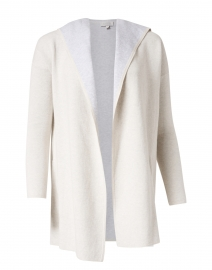 Desert Beige and Grey Reversible Cotton Cashmere Cardigan