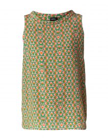 Pink and Green Geometric Print Silk Shirt
