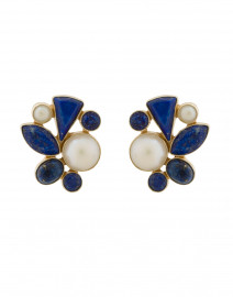 Lapis and Pearl Cluster Earrings