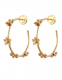 Gold Flower Hoop Earring