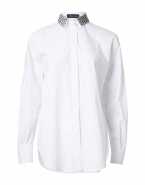 White Stretch Cotton Shirt with Beaded Collar