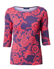 Garde Cote Imprim Navy and Red Floral Print Shirt