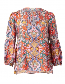 Dow Red and Orange Paisley Cotton Top