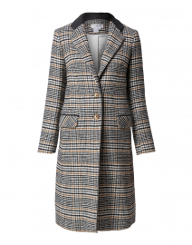 Camel and Black College Plaid Coat