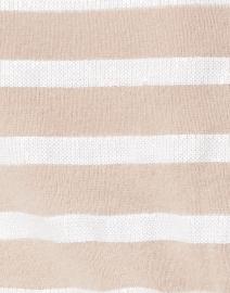 White + Warren - Beige and Ivory Sequin Stripe Cashmere Sweater