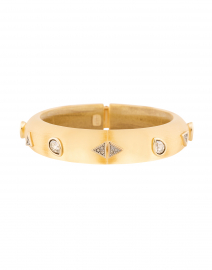 Gold Crystal Pear and Triangle Studded Lucite Bracelet
