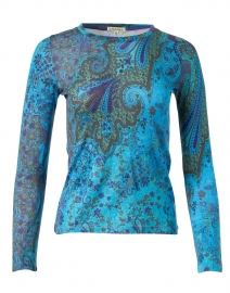 Turquoise and Green Paisley Silk Cashmere Sweater